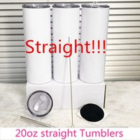 SUBLIMATION TUMVERS 20 Unzen Leere weiße kegelförmige gerade Tasse mit Deckel Stroh 20 Unzen Edelstahl-Vakuum-isoliertes Wasser-Tasse