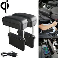 organizer 2 PCS Universal Car Wireless Qi Standard Charger PU Leather Wrapped Armrest Box Cushion Car Armrest Box Mat with Storage Box