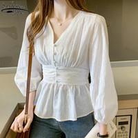 Sonbahar Fransız Vintage Puf Uzun Kollu Astar Üst Kadın Ofis Bayan Stil Tatlı Beyaz Dantel Gömlek Kadın Bluz 2021 10539 Bayan Bluzlar
