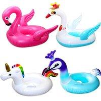 Bebê natação inflável anel flamingo alta qualidade pvc crianças desenhos animados cofres copos flutuadores flutuadores piscinas acessórios wmtqsy otsweet