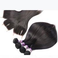 브라질 스트레이트 버진 인간의 머리카락 묶음 레이스 클로저 9A 비영리 처녀 인간의 머리카락 짜는 3 번들 레이스 폐쇄