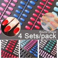 False Nails 4 Sets pack Mixed Color Acrylic Short Tips Press On Round 10 Sizes Full Cover Fake Art DIY Kits