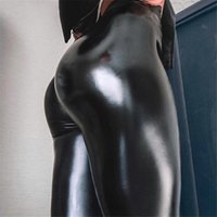 Leggings de mujer Qickitout Spandex 10% Negro PU Pantalones de cuero Mujeres Mujeres Alta Cintura Pulse hacia arriba Pantalones Elásticos Jeggings