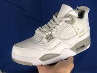 Erkekler Basketbol Ayakkabıları 4 Beyaz Oreo Tasarımcı Sneakers Teknoloji Gri-Beyaz Hakiki Deri Eğitmenler Spor Runner