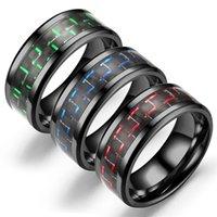 Moda al por mayor 8mm Negro de tungsteno de tungsteno de tungsteno con incrustaciones azules de fibra de carbono azul 6 colores Regalo de joyería de boda 844 B3