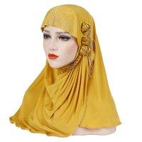Ethnic Clothing 2021 Spring Autumn Muslim Scarf Hat Cap For Women Malaysia Fashion Ice Silk Side Three Small Flowers Shiny Tassel Baotou