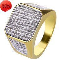 Fashion Luxury Finger Rings Jewelry Exquisite Grade Quality 18K Gold Plated Square Glarings Cubic Zirconia Cluster Ring LR035