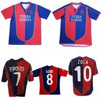 2003 2004 2005 Cagliari الرجعية Soccer Jersey 03 04 05 Zola David Suazo Gobbi Esposito Lopez خمر كلاسيكي لكرة القدم قميص
