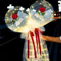 Светодиодный светлый воздушный шар розовый букет прозрачный бобо мяч роза день Святого Валентина подарок день рождения вечеринка свадебные украшения воздушные шары DAU349