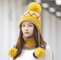 Ottimo inverno inverno dolce e caldo cappelli di lana di lana sciarpe set gszm018a moda addensata a tre palla protezione orecchio carino femmina cappello cappello cappello