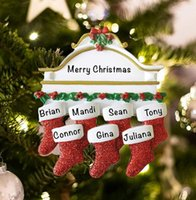 new red Resin Personalized Stocking Socks Family Of 2 3 4 5 6 7 8 Christmas Tree Ornament Creative Decorations Pendants