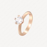 Wedding Ring Women Stainless Steel Alloy 18k Rose Gold Plated Craft Never Fade Not Allergic Diamond Rings Fashion Charm Accessories With Jewelry Pouches Wholesale