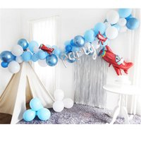60pcs set Blue White Cloud Balloons Boy Airplane Toy Birthday Wedding Decor Hawaii Theme Kids Birthday Party Supplies Air Globos G0927