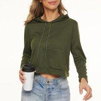 Women's Hoodies & Sweatshirts Fashion Women Sweatshirt Solid Crop Hoodie Long Sleeve Jumper Hooded Pullover Coat Casual Top