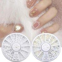 Nail Art Decorations 1 Wheel Mixed Size 2 / 3mm Halvrunda Pärlor Vit Pearl Beads Manicure Rhinestone Beauty Tools
