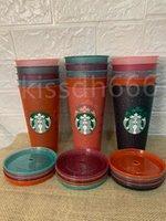 Neue 24 Unzen / 710 ml Starbucks Pailletten Kunststoff-Tumbler wiederverwendbarer klarer trinkender flacher unterer Tasse Säule-Form-Deckel-Stroh-Becher Bardian-Liebe