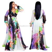 Casual Dresses 2021 Summer Women Maxi Dress Floral Print Chiffon Plus Size Boho Style Vestidos Elegant Beach Long Big