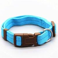 كلب كلب طوق الكلاسيكية الصلبة البوليستر الأساسي نايلون الكلب طوق مع سريعة المفاجئة مشبك، طوق اختياري سحب حبل 7 ألوان 439 v2