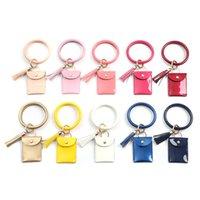 Keychain Bracelet Wristlet Bangle Bright Faux Leather Women Girls Mini Purse Tassel Solid Color Key Chain Coin Pouch