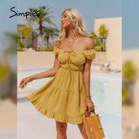 Casual Dresses Simplee Yellow Cotton High-waist Wrap Women Dress 2021 Summer Short Sleeve A-line Beach Sundress Solid Square Neck Vestidos