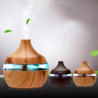 Essential Oils Diffusers Electric Humidifier Aroma Oil Diffuser Ultrasonic Wood Grain Air USB Mini Mist Maker LED Light For