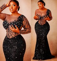 2021 Plus Size Arabic Aso Ebi Black Mermaid Sequined Prom Dresses Lace Beaded Crystals Evening Formal Party Second Reception Gowns Dress ZJ440
