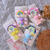 3pc set Cute Girl Cloud Lollipop Rainbow Hairpins Cartoon Bo...