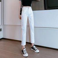 Spring Women's Fashion Ironing And Diamond Solid Color Versatile Capris Elegant Beautiful High Waist Slim Pants Jeans