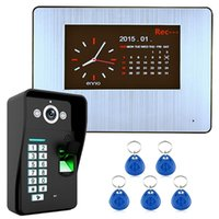 """7 """"LCD تسجيل HD 1000TVL DVR التعرف على بصمات الأصابع الفيديو باب الهاتف إنترفون نظام كيت الهواتف"""