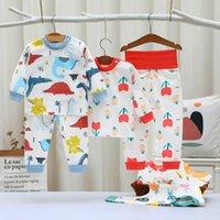 Осенняя детская одежда весенние пижамы наборы мальчиков девочек животных пижамы пижамы пижамы пижамы хлопчатобумажные ночные одежды детская одежда