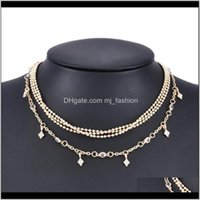 Chains Necklaces & Pendants Jewelrynecklace Women Several Layers Fashion Steampunk Golden Necklace Pendant Chain Jewelry Aesories Gifts 0181