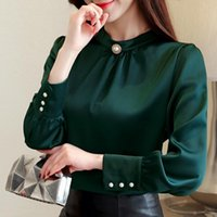 Fashion Womens Clothing 2021 Stand Collar Office Women Blouse Plus Size Chiffon Shirts Wpmens Tops And Blouses B139 Women's &