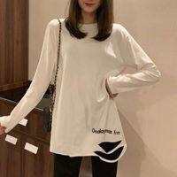 Kadın Kazak Beyaz Uzun Kollu T-shirt Sonbahar Kış Peluş Kalınlaşmış Baz Gömlek Kore Ins Gelgit Delik Gevşek Üst YBA