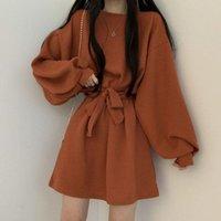 Casual Dresses dresses woman Lantern sleeve short female autumn new casual simple wild loose waist fashion women sweet JIYX