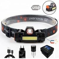 방수 LED 헤드 램프 COB 작업 라이트 2 모드 자석 헤드 라이트 내장 18650 배터리 낚시, 캠핑, 등등