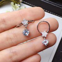 Fashion Cute Stars Natural Light Blue Aquamarine Gem S925 Silver Ring Pendant Gemstone Jewelry Set Girl Party Bracelet, Earrings & Necklace