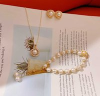 Luxury designer Necklace Handmade pearl bracelet Pure silver Earrings suits baroque style rose shell shape with high quality natural fresh