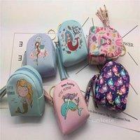 US Stock Party Favorit Cartoon Printed Zero Wallet Mini Cute Mermaid Key Bag Data Cable Headset Storage Bag