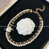 Bijoux de luxe Top Qualité Collier de perles de vachette Vintage Vintage pour femmes Cadeau 2021Trendy Famou marque de marque Classic Logo Chaînes