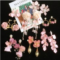 Europe and America exaggerated earrings temperament pink lace false petal tassel earrings super fairy flower earrings female personality Wholesale