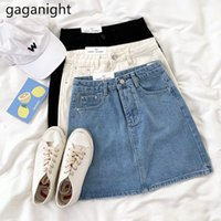 Gaganight Donne Summer Solid Black Blue Jeans Gonna Gonna Casual High Waist Denim Gonne Signore All-abbinato Mini Gonna a linea A-Line 210519