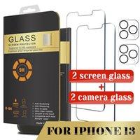 2 حزمة حامي الشاشة وزجاج الكاميرا لفون 13 12 برو ماكس 11 XR XS ماكس 8plus x الزجاج المقسى مع مربع