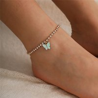 Trendy Butterfly Anklet Rhinestone Chain Feet Jewelry for Women Simple Summer Beach Ankle Bracelet Animal Barefoot Accessories