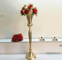 98cm Hohe Vintage Blume Vase Pot Party Dekoration Metall Trompete Hochzeit Ehe Zeremonie Jubiläum Centerpiece Dekorationen OWF11121