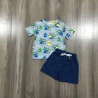 الصيف طفل الفتيان القطن الأطفال الملابس البحرية الطائرات الطباعة قصيرة الأكمام ملابس بوتيك مجموعة