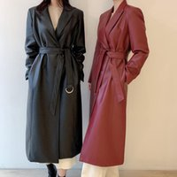Women's Jackets Stylish Notched Collar PU Trench Coats Women Full Sleeve Double Breasted Belted Long Female Faux Leather 2021 J150
