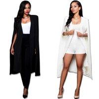 Costumes Femmes Blazers Fashion Blazer Cape Manteaux Longue Cape solide OL Vestes de personnalité noir et blanc