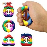 Regenbogen Farbe Anti Stress Finger Handgriff Stress Reliever Zappeln Spielzeug Dekompression Spielzeug Silikon Griff Fidget Spielzeug Erwachsene Kind HJ17