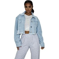 Autumn Short Denim Button Jacket Womens Solid Color Long Sleeves Casual Cropped Hole Jean Jackets Outwear Women's