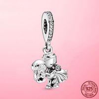 Romantico 925 Sterling Silver Silver Sposato Amanti Amanti Ciondolo perline di fascino Fit Braccialetto originale Pandora Braccialetto di Charm Bracciale regalo gioielli